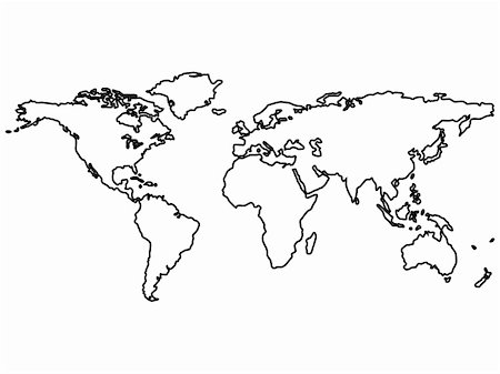 black world map outlines isolated on white, abstract art illustration Stock Photo - Budget Royalty-Free & Subscription, Code: 400-05312670
