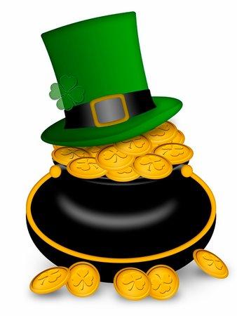 Saint Patricks Day Leprechaun Hat on Pot of Gold Coins Illustration Stock Photo - Budget Royalty-Free & Subscription, Code: 400-05312707