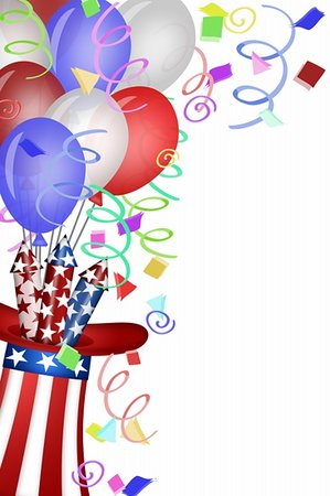 red colour background with white fireworks - Uncle Sam Hat with Red White Blue Fireworks and Balloons Illustration Stock Photo - Budget Royalty-Free & Subscription, Code: 400-05313568