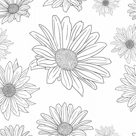 flower drawings black - Hand drawn floral wallpaper with set of different flowers. Could be used as seamless wallpaper, textile, wrapping paper or background Stock Photo - Budget Royalty-Free & Subscription, Code: 400-05324408