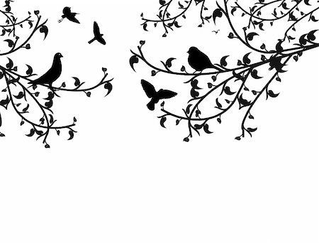 Birds in the tree and flying, vector illustration Stock Photo - Budget Royalty-Free & Subscription, Code: 400-05325069