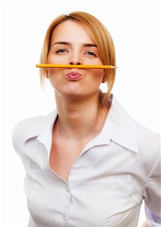 raysay (artist) - Business woman holding a pancil by lips Stock Photo - Budget Royalty-Free & Subscription, Code: 400-05325353