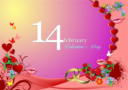 Valentine`s Day  Greeting Card. Vector illustration. Invitation card Stock Photo - Budget Royalty-Free & Subscription, Code: 400-05327182