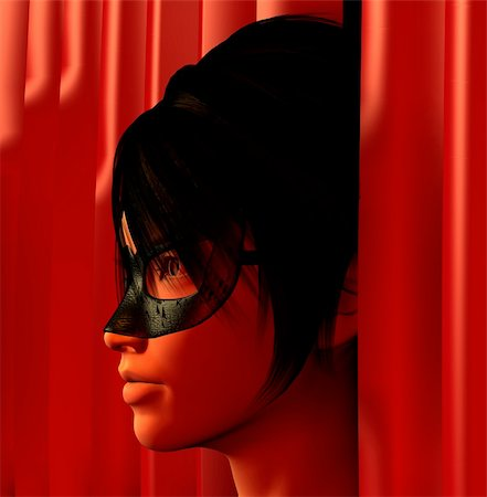 Masked woman and red curtains 3d illustration. Stock Photo - Budget Royalty-Free & Subscription, Code: 400-05328610