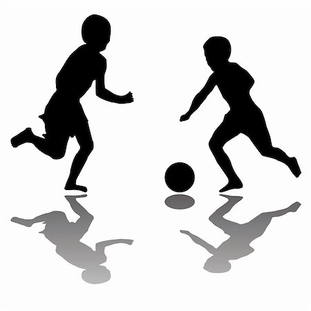 kids playing soccer (black) isolated on white background, vector art illustration; more drawings and silhouettes in my gallery Stock Photo - Budget Royalty-Free & Subscription, Code: 400-05320027