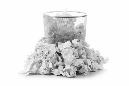 Garbage bin with paper waste isolated on white Stock Photo - Budget Royalty-Free & Subscription, Code: 400-05320795