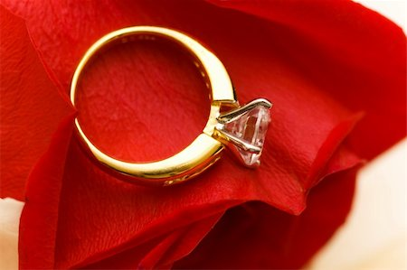 Wedding ring on the petal of red rose Stock Photo - Budget Royalty-Free & Subscription, Code: 400-05320796