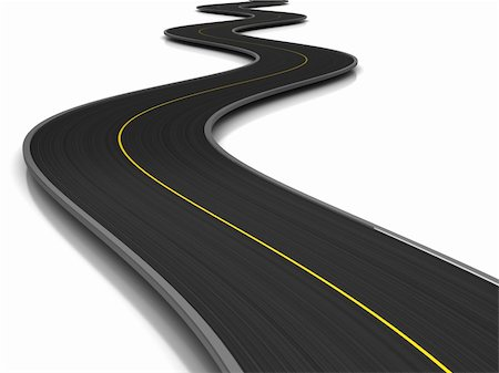 road landscape - 3d illustration of curved road over white background Stock Photo - Budget Royalty-Free & Subscription, Code: 400-05320951