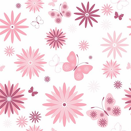flower design with butterfly - White seamless floral pattern with pink flowers and butterflies (vector) Stock Photo - Budget Royalty-Free & Subscription, Code: 400-05322089