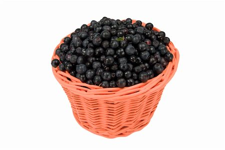 Basket with of ripe blueberry isolated on white bacground Stock Photo - Budget Royalty-Free & Subscription, Code: 400-05322710