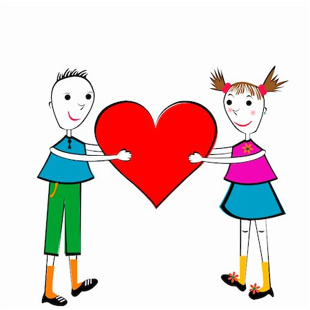 Pair of children holding a heart Stock Photo - Budget Royalty-Free & Subscription, Code: 400-05323888