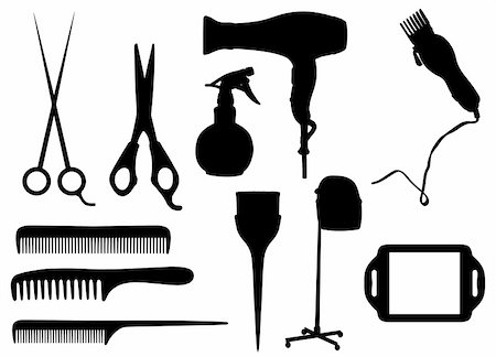 Isolated silhouettes of Hairdressing objects Stock Photo - Budget Royalty-Free & Subscription, Code: 400-05334426