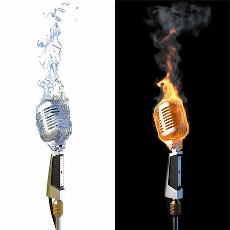smoke magic abstract - old microphone in flames from fire and from water. Stock Photo - Budget Royalty-Free & Subscription, Code: 400-05337400