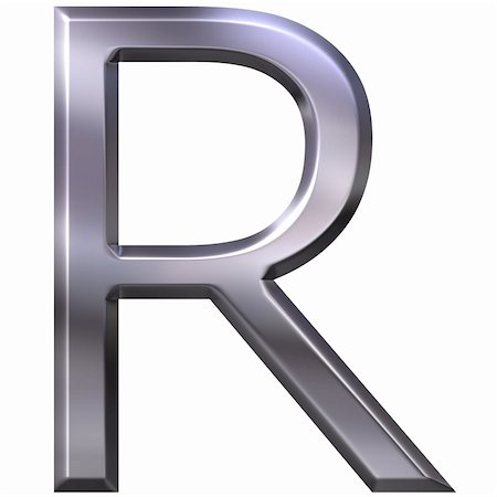 fancy letters - 3d silver letter R isolated in white Stock Photo - Budget Royalty-Free & Subscription, Code: 400-05337861