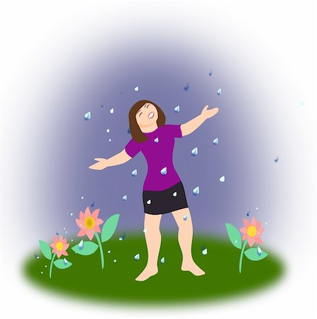 face woman beautiful clipart - A young girl and three flowers standing in the rain. Stock Photo - Budget Royalty-Free & Subscription, Code: 400-05338929