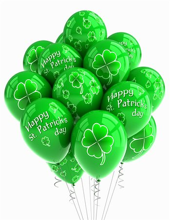 St. Patrick's Day balloons over white background Stock Photo - Budget Royalty-Free & Subscription, Code: 400-05339115