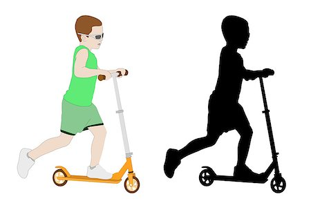 sports scooters - illustration of kid riding micro scooter - vector Stock Photo - Budget Royalty-Free & Subscription, Code: 400-05339418