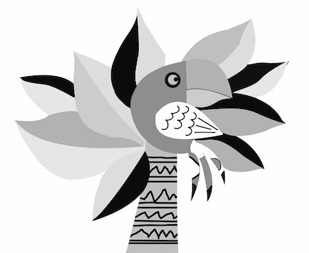 vector drawing of the parrot on palm Stock Photo - Budget Royalty-Free & Subscription, Code: 400-05330261