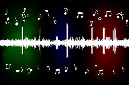 Sound wave with musical notes Stock Photo - Budget Royalty-Free & Subscription, Code: 400-05330559