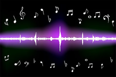 Sound wave with various music notes Stock Photo - Budget Royalty-Free & Subscription, Code: 400-05330584