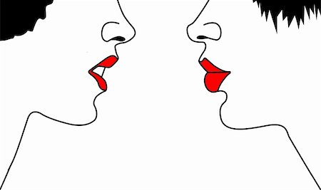 female lips drawing - vector silhouette two woman's on white background Stock Photo - Budget Royalty-Free & Subscription, Code: 400-05331000