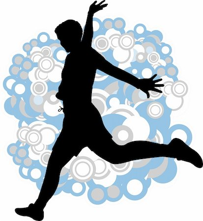 simsearch:400-04222950,k - silhouette of young man jump on the abstract background - vector Stock Photo - Budget Royalty-Free & Subscription, Code: 400-05332374