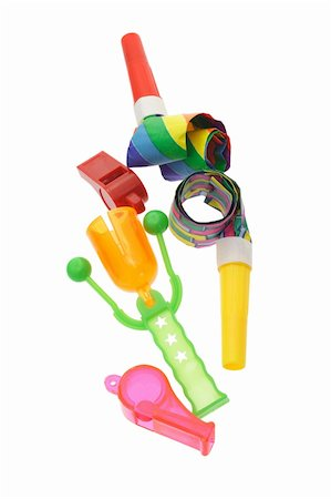 paper blower - Colorful party horn, blowers, whistles and click clack on white Stock Photo - Budget Royalty-Free & Subscription, Code: 400-05333568