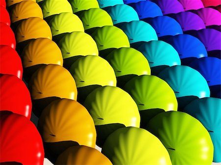 rolffimages (artist) - Umbrellas in rainbow hues Stock Photo - Budget Royalty-Free & Subscription, Code: 400-05333840
