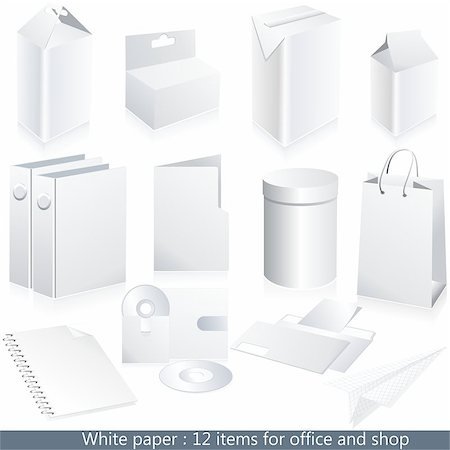 Set of vector white paper - packaging and stationery elements. Stock Photo - Budget Royalty-Free & Subscription, Code: 400-05345061