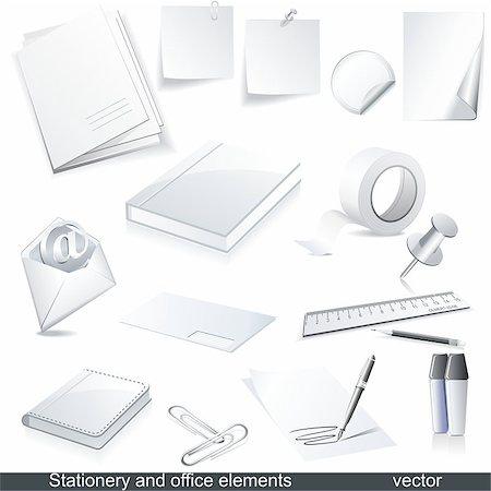 Set of vector white paper - packaging and stationery elements. Stock Photo - Budget Royalty-Free & Subscription, Code: 400-05345074
