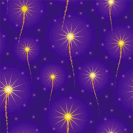 fireworks vector art - salute, fireworks in the sky seamless background Stock Photo - Budget Royalty-Free & Subscription, Code: 400-05346082