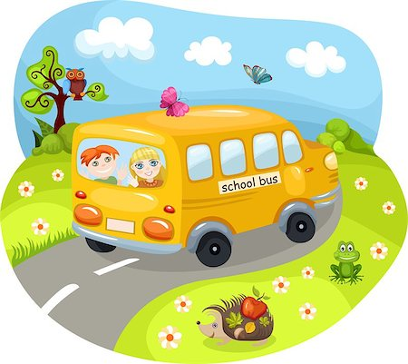 vector illustration of a cute school bus Stock Photo - Budget Royalty-Free & Subscription, Code: 400-05346405
