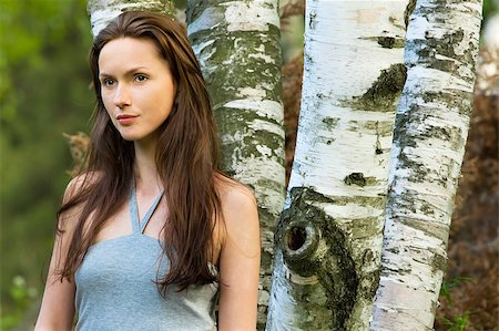 Girl in a birch grove Stock Photo - Budget Royalty-Free & Subscription, Code: 400-05346919