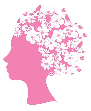 Vector illustration of a pink floral head Stock Photo - Budget Royalty-Free & Subscription, Code: 400-05347225