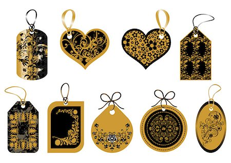 Set of labels in gold and black colors Stock Photo - Budget Royalty-Free & Subscription, Code: 400-05347911