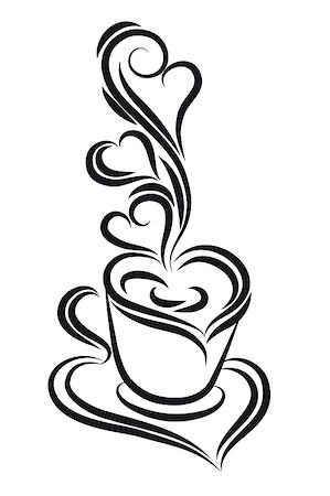svetap (artist) - Black and white coffee cup vector. Swirl, curl style. Stock Photo - Budget Royalty-Free & Subscription, Code: 400-05348481