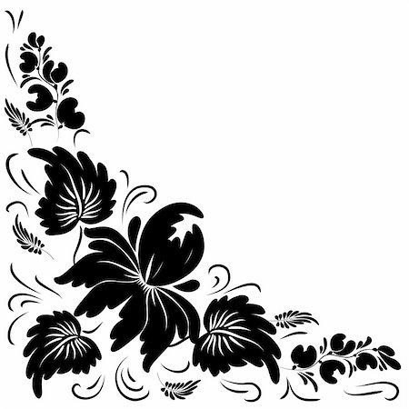 Black flowers on a white background - in the style of hand-painted. Basic elements are grouped. Stock Photo - Budget Royalty-Free & Subscription, Code: 400-05348951