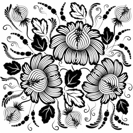 plant leaf paintings graphic - Black flowers on a white background - in the style of hand-painted. Basic elements are grouped. Stock Photo - Budget Royalty-Free & Subscription, Code: 400-05348953