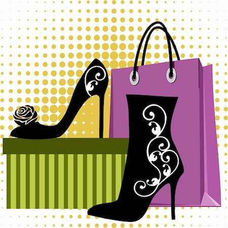 elakwasniewski (artist) - Black silhouettes of womens shoes with ornaments, bags and packaging box Stock Photo - Budget Royalty-Free & Subscription, Code: 400-05349049