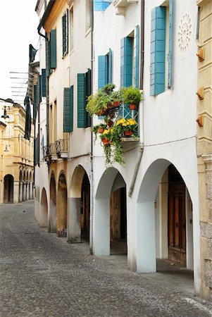 street in Italy, Padova, terrace with flowerpots and plants Stock Photo - Budget Royalty-Free & Subscription, Code: 400-05349125
