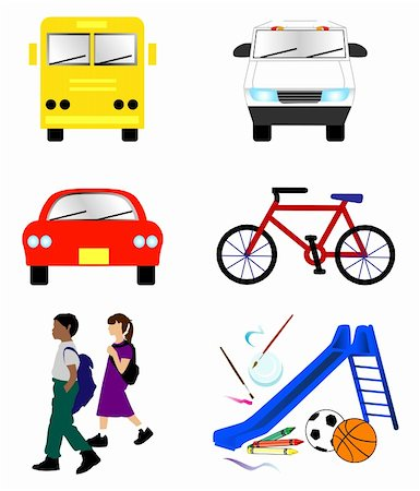 Vector Illustration of 6 school transportation icons. Stock Photo - Budget Royalty-Free & Subscription, Code: 400-05349336