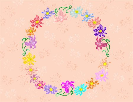 plant leaf paintings graphic - Illustration of wreath from abstract flowers with background Stock Photo - Budget Royalty-Free & Subscription, Code: 400-05349840