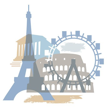 dpruter - Collage of Famous European buildings, vector illustration. Stock Photo - Budget Royalty-Free & Subscription, Code: 400-05340037