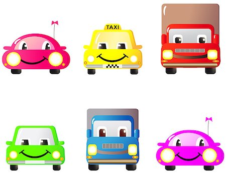 A set of colorful fun and cute cars and toys. Cartoon. Stock Photo - Budget Royalty-Free & Subscription, Code: 400-05341739