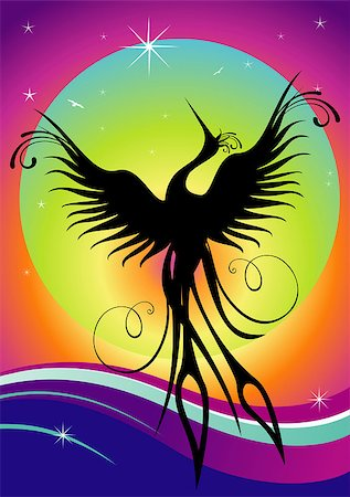 frbird - Black phoenix bird figure over multicolored background. Re-birth concept. Stock Photo - Budget Royalty-Free & Subscription, Code: 400-05343092