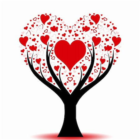 Beautiful love tree with hearts pattern Stock Photo - Budget Royalty-Free & Subscription, Code: 400-05354996