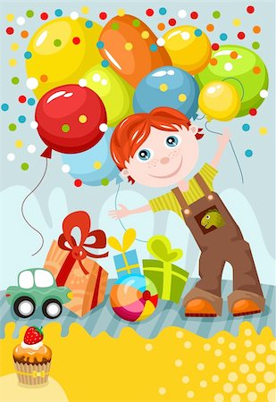 vector illustration of a cute birthday card Stock Photo - Budget Royalty-Free & Subscription, Code: 400-05355490