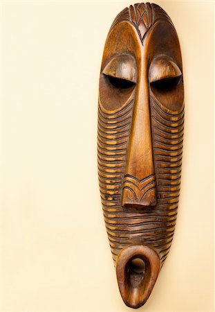 Traditional wooden African tribal mask Stock Photo - Budget Royalty-Free & Subscription, Code: 400-05356746