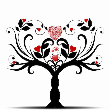 Beautiful valentine tree with hearts pattern on white background Stock Photo - Budget Royalty-Free & Subscription, Code: 400-05358313