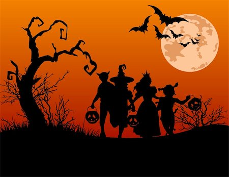 Halloween background with silhouettes of children trick or treating in Halloween costume Stock Photo - Budget Royalty-Free & Subscription, Code: 400-05358415